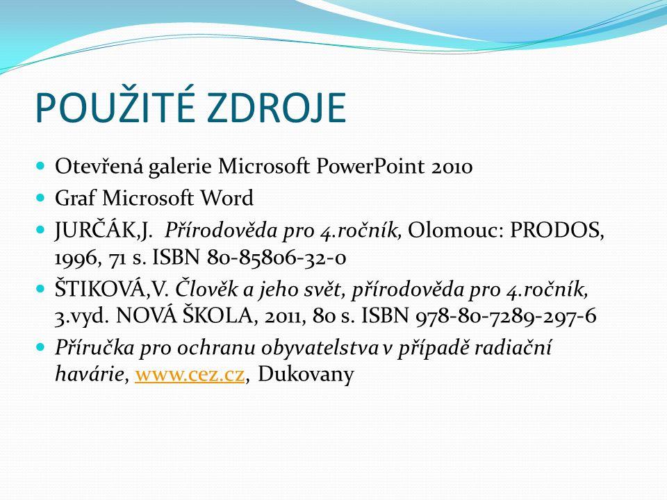 POUŽITÉ ZDROJE Otevřená galerie Microsoft PowerPoint 2010 Graf Microsoft Word JURČÁK,J. Přírodověda pro 4.ročník, Olomouc: PRODOS, 1996, 71 s. ISBN 80