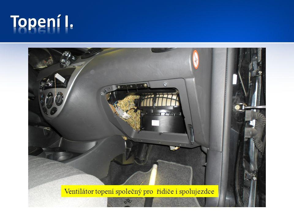 Ventilátor topení -dmychadlo Ventilátor topení – u spolujezdce Ventilátor topení společný pro řidiče i spolujezdce