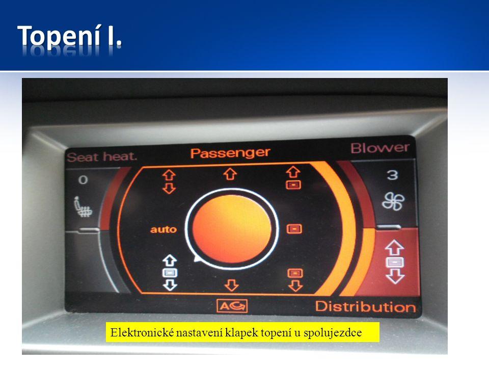 Elektronické nastavení klapek topení u spolujezdce
