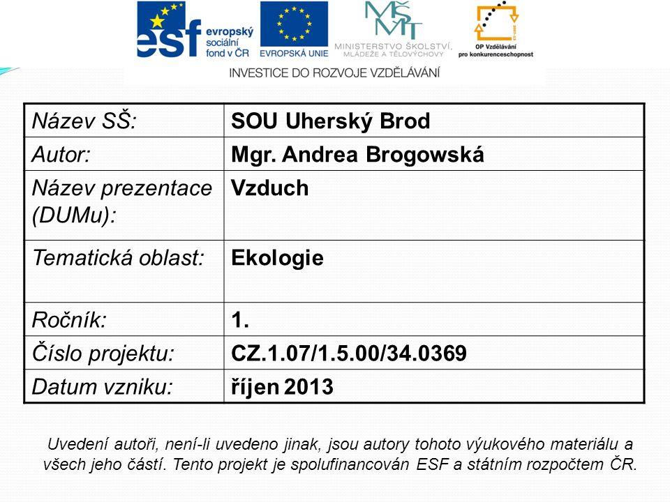 Název SŠ:SOU Uherský Brod Autor:Mgr. Andrea Brogowská Název prezentace (DUMu): Vzduch Tematická oblast:Ekologie Ročník:1. Číslo projektu:CZ.1.07/1.5.0
