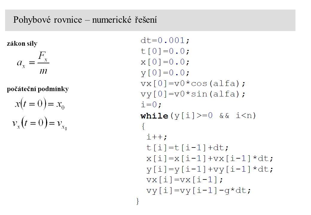 Pohybové rovnice – numerické řešení zákon síly počáteční podmínky