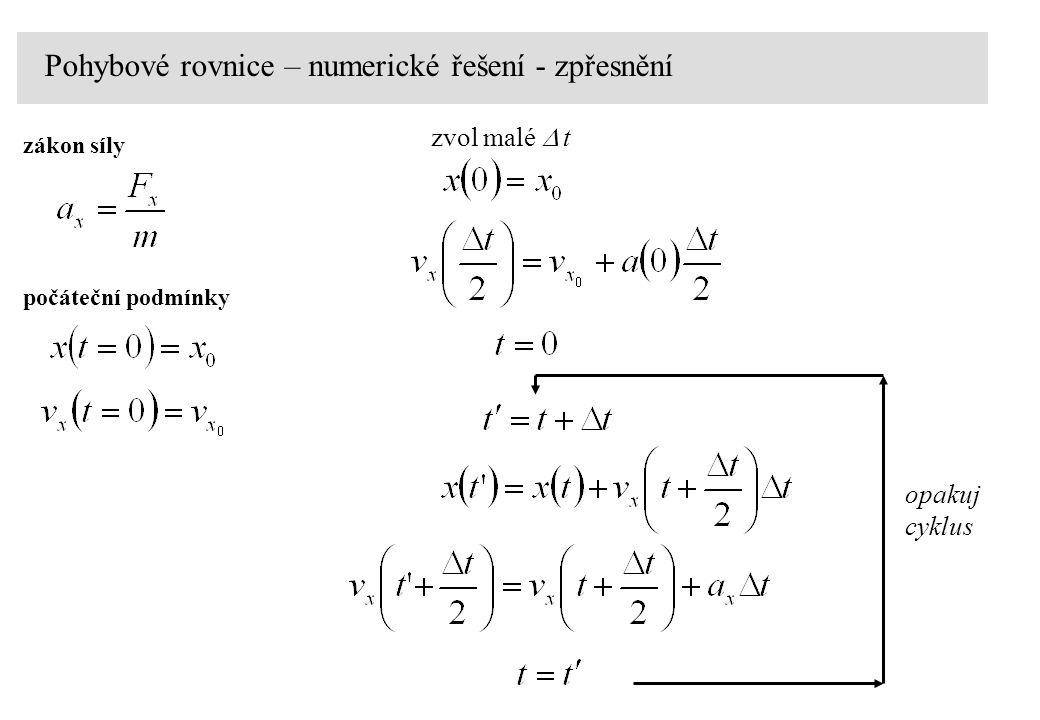 Pohybové rovnice – numerické řešení - zpřesnění zákon síly počáteční podmínky zvol malé   t opakuj cyklus