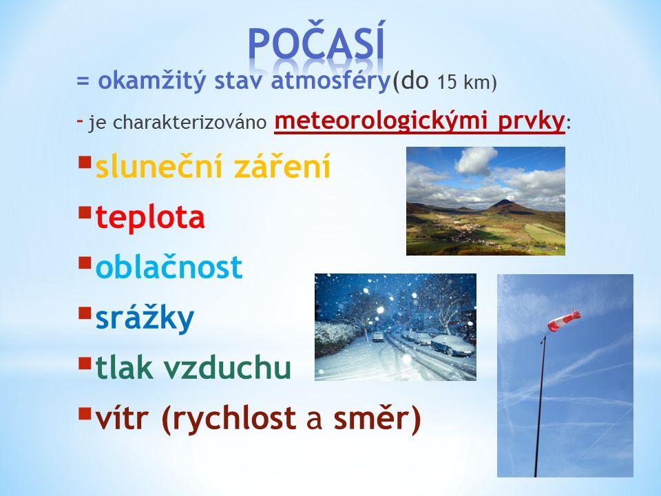 = okamžitý stav atmosféry(do 15 km) - je charakterizováno meteorologickými prvky :  sluneční záření  teplota  oblačnost  srážky  tlak vzduchu  v