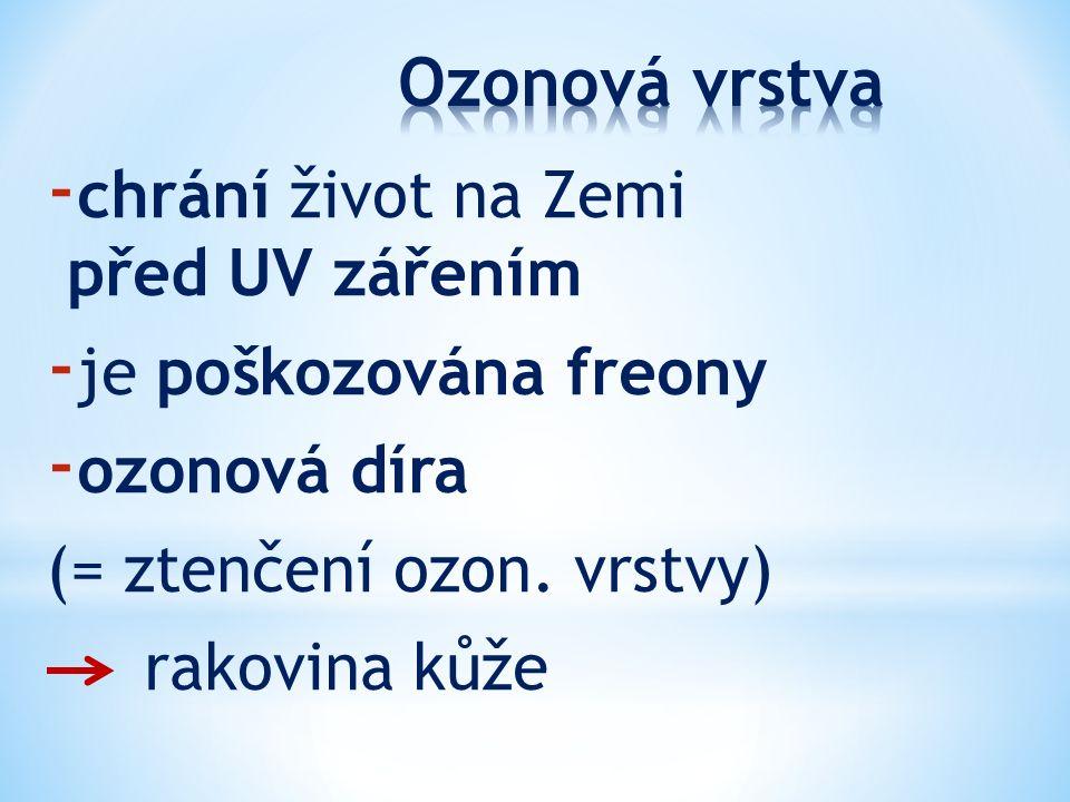 - chrání život na Zemi před UV zářením - je poškozována freony - ozonová díra (= ztenčení ozon. vrstvy) rakovina kůže