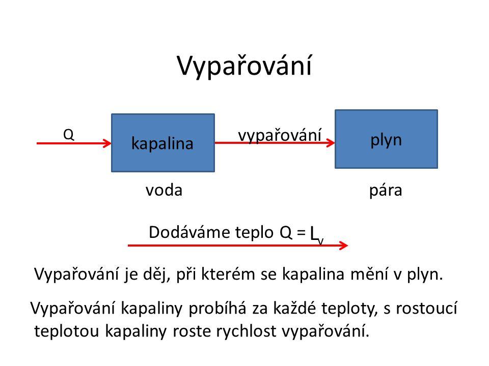 Vypařování vypařování Q Vypařování je děj, při kterém se kapalina mění v plyn.