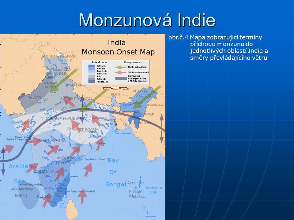 Monzunová Indie obr.č.4 Mapa zobrazující termíny příchodu monzunu do jednotlivých oblastí Indie a směry převládajícího větru
