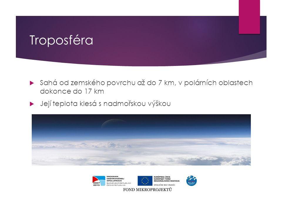 Troposféra  Sahá od zemského povrchu až do 7 km, v polárních oblastech dokonce do 17 km  Její teplota klesá s nadmořskou výškou