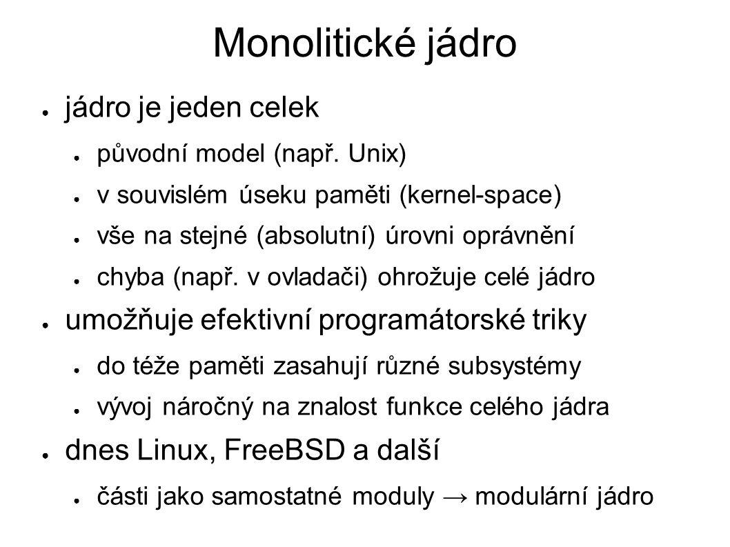 Mikrojádro ● jádro minimalizováno (jen nejnutnější části) ● hezké rozvržení, vlastní písečky, snadné pochopit ● vše ostatní jako běžné procesy – tzv.
