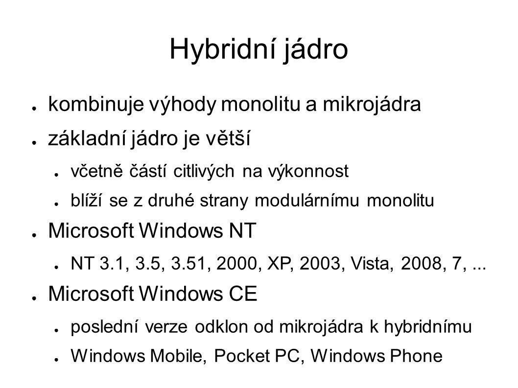 Hybridní jádro ● kombinuje výhody monolitu a mikrojádra ● základní jádro je větší ● včetně částí citlivých na výkonnost ● blíží se z druhé strany modulárnímu monolitu ● Microsoft Windows NT ● NT 3.1, 3.5, 3.51, 2000, XP, 2003, Vista, 2008, 7,...