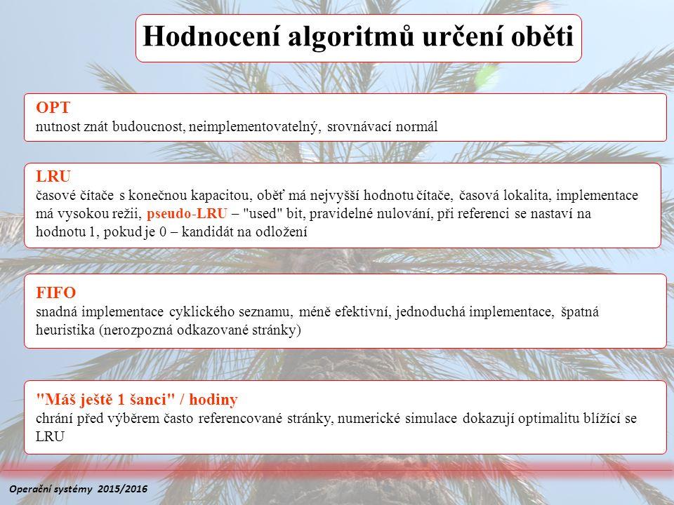 Hodnocení algoritmů určení oběti FIFO snadná implementace cyklického seznamu, méně efektivní, jednoduchá implementace, špatná heuristika (nerozpozná o