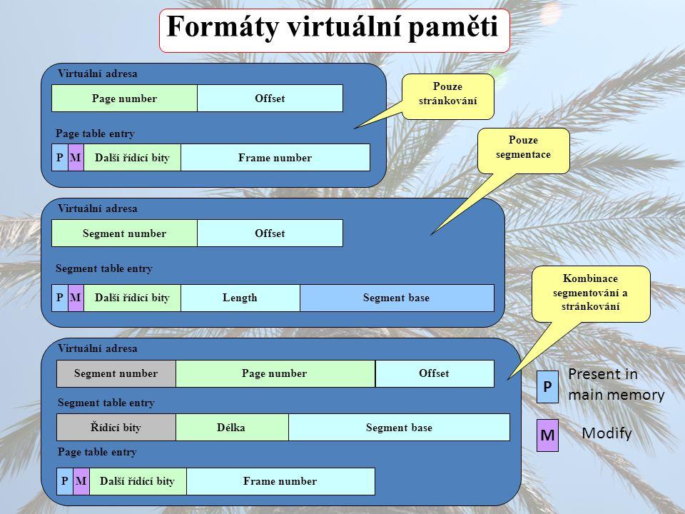 Formáty virtuální paměti Virtuální adresa Page numberOffset Další řídící bityPMFrame number Virtuální adresa Page numberOffset Další řídící bityPMFram