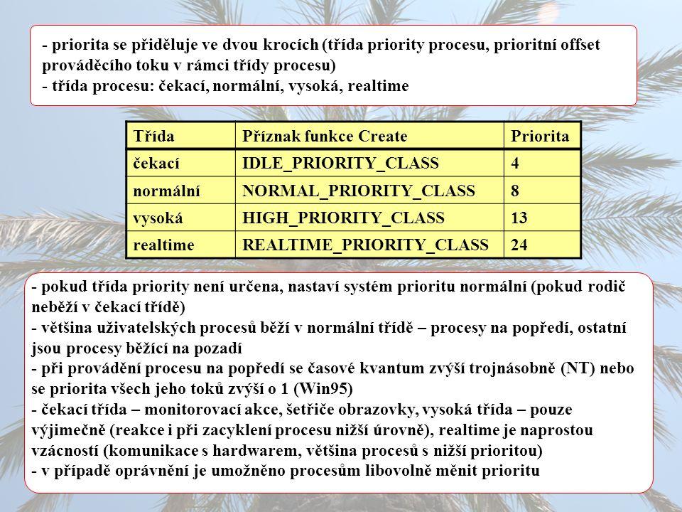 - priorita se přiděluje ve dvou krocích (třída priority procesu, prioritní offset prováděcího toku v rámci třídy procesu) - třída procesu: čekací, normální, vysoká, realtime TřídaPříznak funkce CreatePriorita čekacíIDLE_PRIORITY_CLASS4 normálníNORMAL_PRIORITY_CLASS8 vysokáHIGH_PRIORITY_CLASS13 realtimeREALTIME_PRIORITY_CLASS24 - pokud třída priority není určena, nastaví systém prioritu normální (pokud rodič neběží v čekací třídě) - většina uživatelských procesů běží v normální třídě – procesy na popředí, ostatní jsou procesy běžící na pozadí - při provádění procesu na popředí se časové kvantum zvýší trojnásobně (NT) nebo se priorita všech jeho toků zvýší o 1 (Win95) - čekací třída – monitorovací akce, šetřiče obrazovky, vysoká třída – pouze výjimečně (reakce i při zacyklení procesu nižší úrovně), realtime je naprostou vzácností (komunikace s hardwarem, většina procesů s nižší prioritou) - v případě oprávnění je umožněno procesům libovolně měnit prioritu