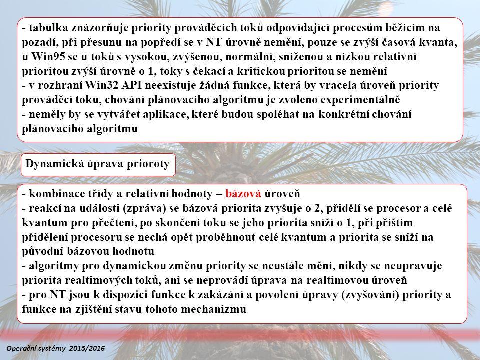 - tabulka znázorňuje priority prováděcích toků odpovídající procesům běžícím na pozadí, při přesunu na popředí se v NT úrovně nemění, pouze se zvýší č