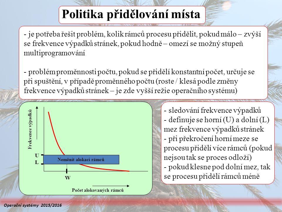 Politika přidělování místa Frekvence výpadků Počet alokovaných rámců U W Neměnit alokaci rámců L - je potřeba řešit problém, kolik rámců procesu přidě