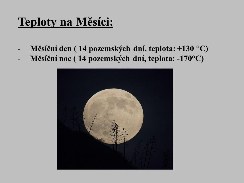 Teploty na Měsíci: -Měsíční den ( 14 pozemských dní, teplota: +130 °C) -Měsíční noc ( 14 pozemských dní, teplota: -170°C)