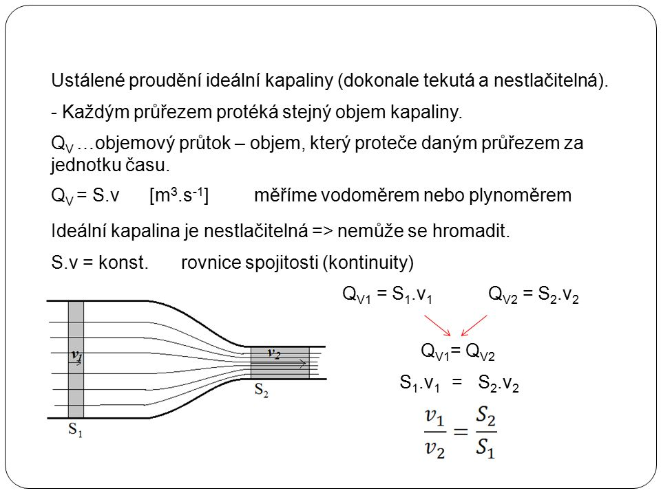 Ustálené proudění ideální kapaliny (dokonale tekutá a nestlačitelná). - Každým průřezem protéká stejný objem kapaliny. měříme vodoměrem nebo plynoměre