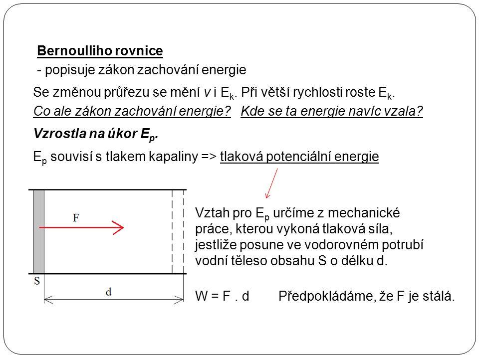 Bernoulliho rovnice - popisuje zákon zachování energie Se změnou průřezu se mění v i E k. Při větší rychlosti roste E k. Co ale zákon zachování energi