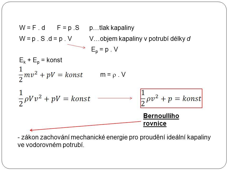 W = F. dF =p…tlak kapalinyp.S W =p. S.d =p. VV…objem kapaliny v potrubí délky d E p = p. V E k + E p = konst m = . V - zákon zachování mechanické ene