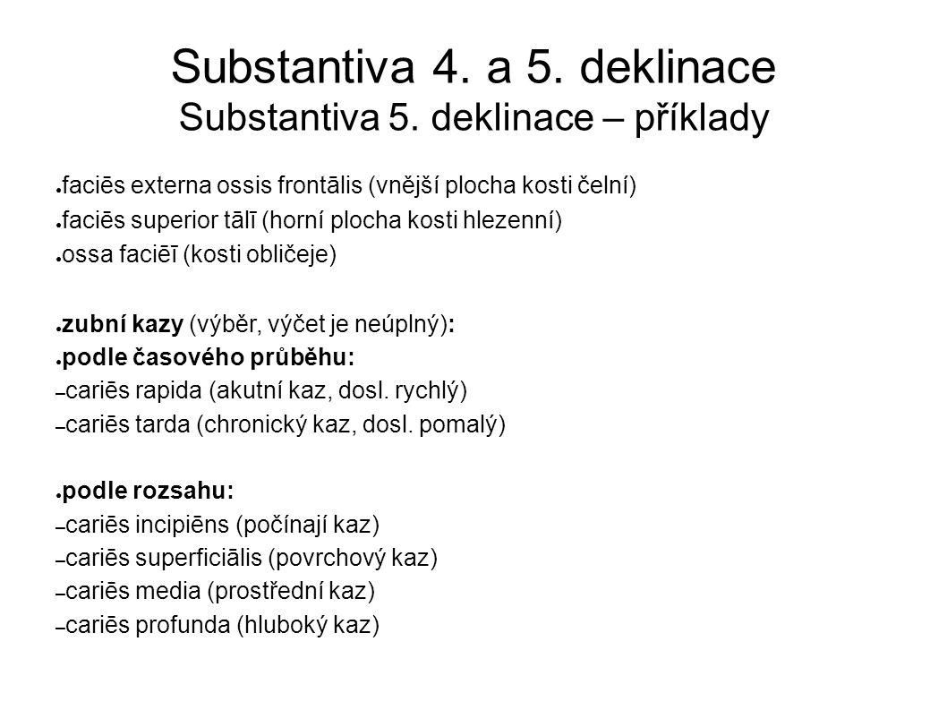 Substantiva 4. a 5. deklinace Substantiva 5.