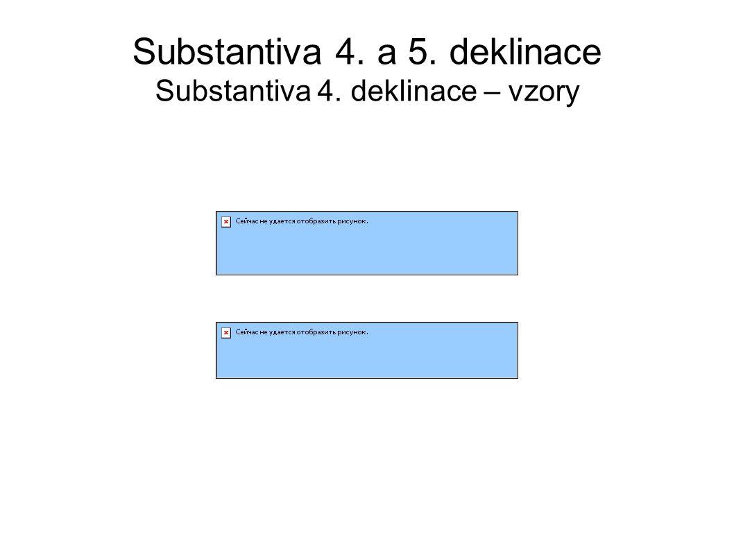 Substantiva 4. a 5. deklinace Substantiva 4. deklinace – vzory
