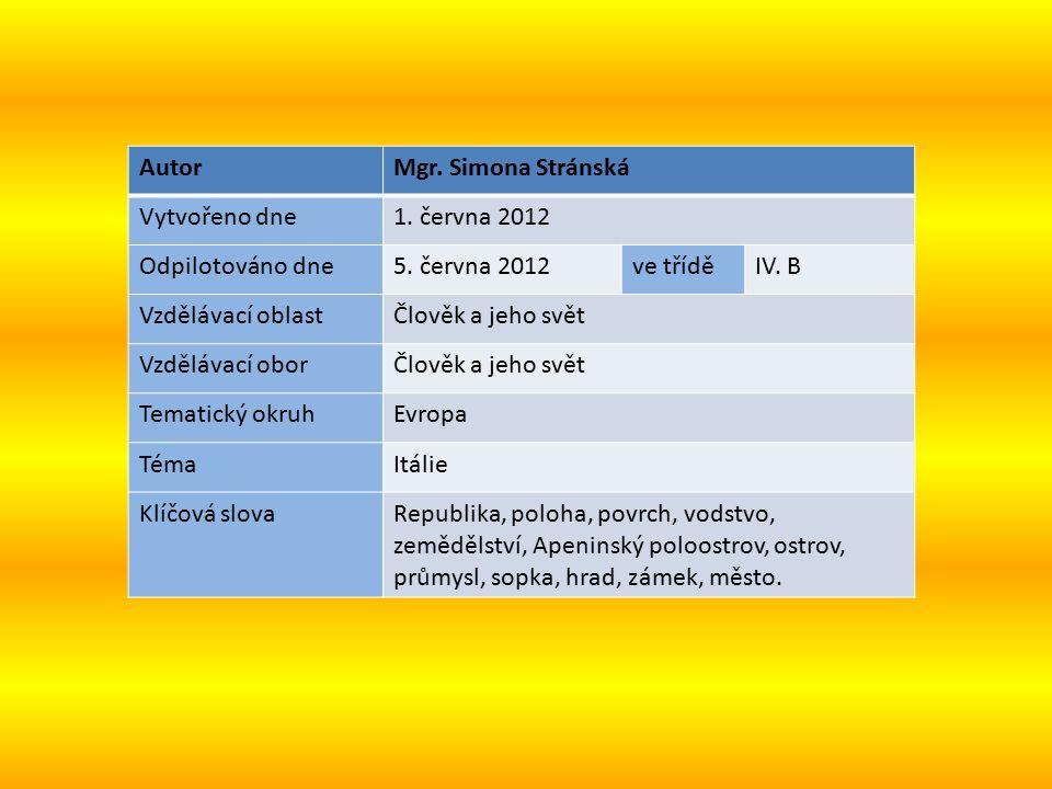 AutorMgr. Simona Stránská Vytvořeno dne1. června 2012 Odpilotováno dne5.