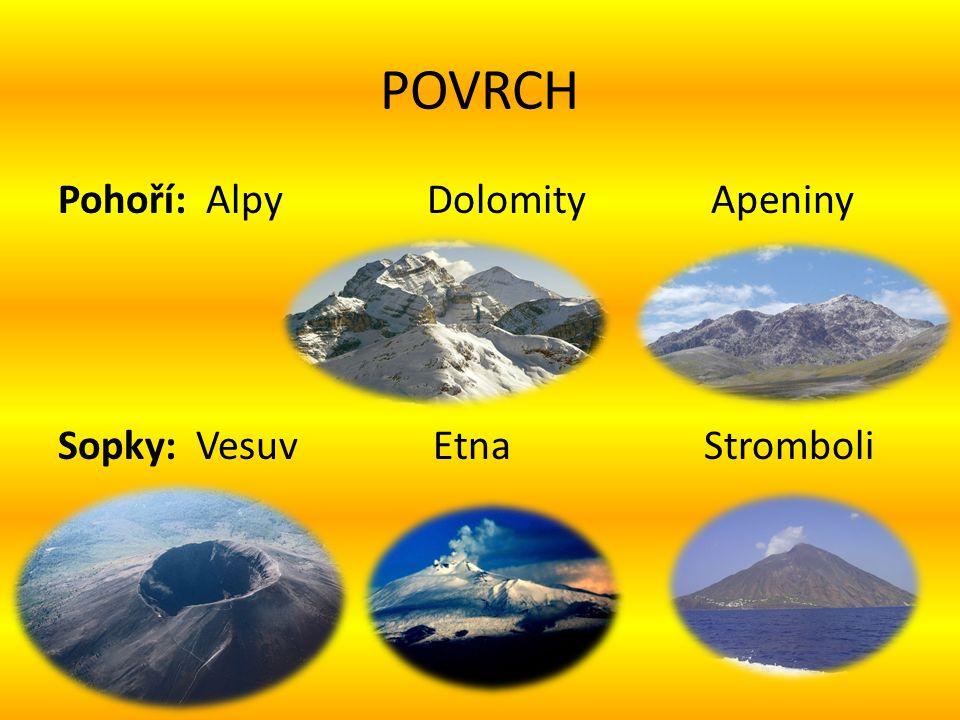 POVRCH Pohoří: Alpy Dolomity Apeniny Sopky: Vesuv Etna Stromboli