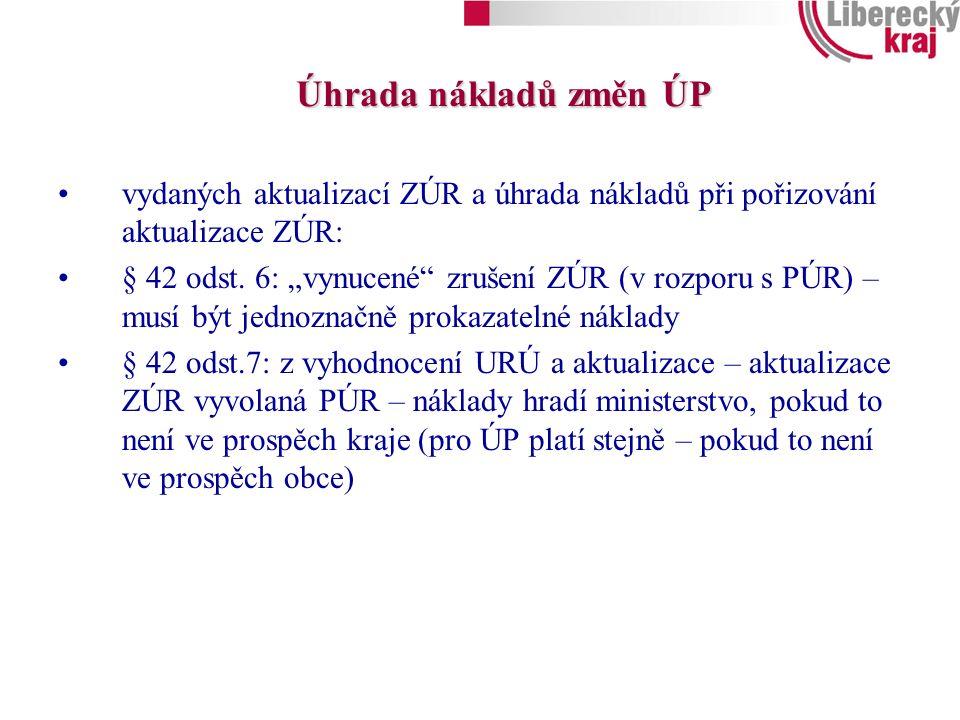 Úhrada nákladů změn ÚP vydaných aktualizací ZÚR a úhrada nákladů při pořizování aktualizace ZÚR: § 42 odst.