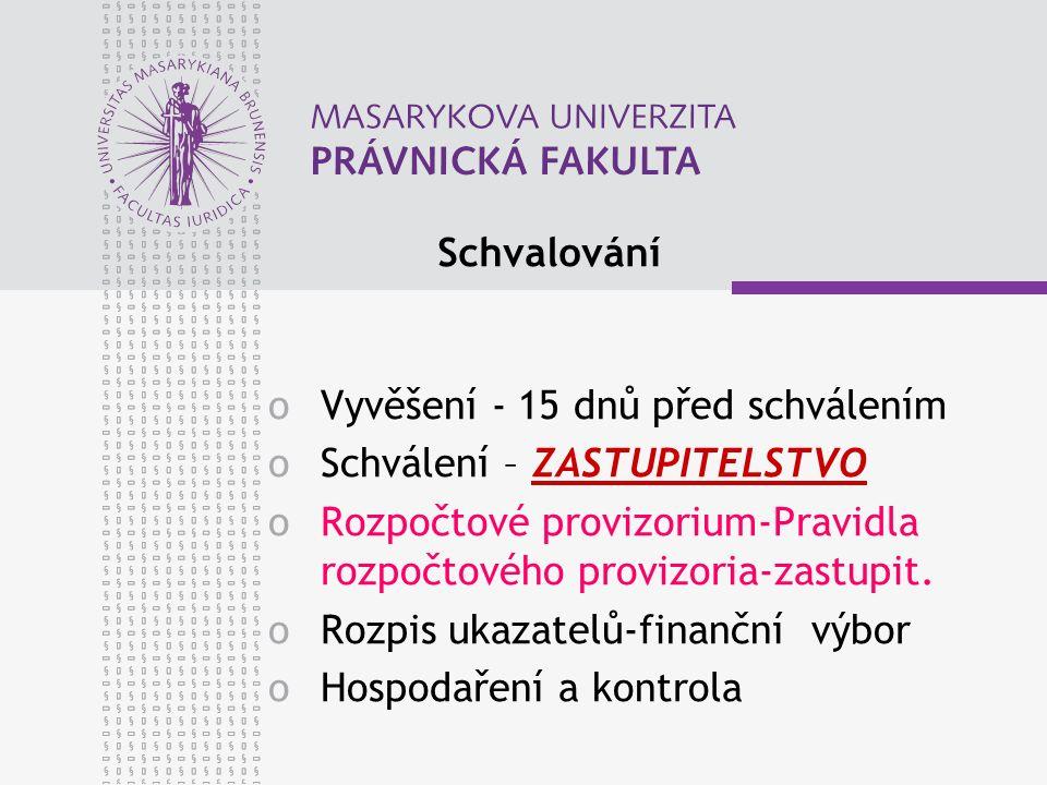 Schvalování oVyvěšení - 15 dnů před schválením oSchválení – ZASTUPITELSTVO oRozpočtové provizorium-Pravidla rozpočtového provizoria-zastupit. oRozpis