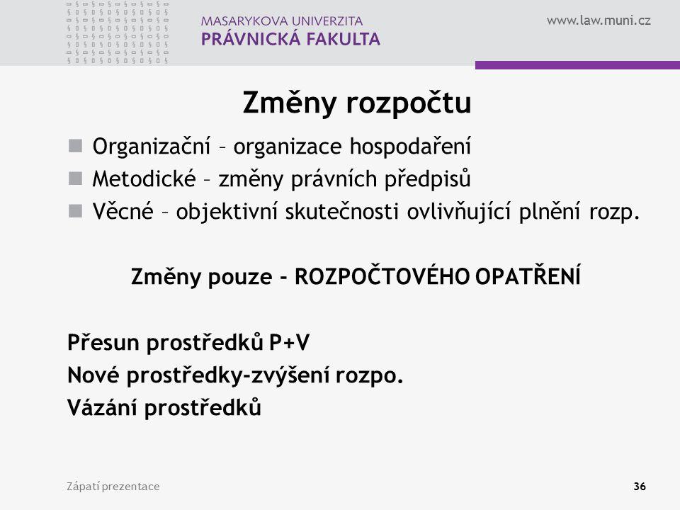www.law.muni.cz Změny rozpočtu Organizační – organizace hospodaření Metodické – změny právních předpisů Věcné – objektivní skutečnosti ovlivňující pln