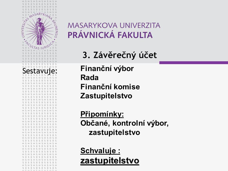 3. Závěrečný účet Sestavuje: Finanční výbor Rada Finanční komise Zastupitelstvo Připomínky: Občané, kontrolní výbor, zastupitelstvo Schvaluje :zastupi