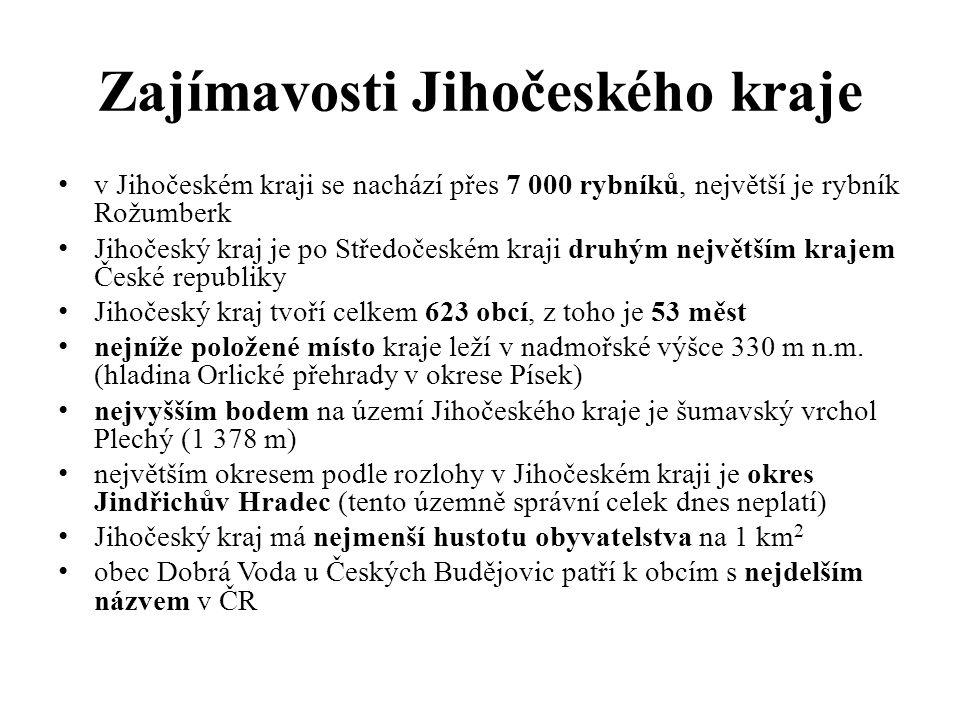 Zajímavosti Jihočeského kraje v Jihočeském kraji se nachází přes 7 000 rybníků, největší je rybník Rožumberk Jihočeský kraj je po Středočeském kraji druhým největším krajem České republiky Jihočeský kraj tvoří celkem 623 obcí, z toho je 53 měst nejníže položené místo kraje leží v nadmořské výšce 330 m n.m.