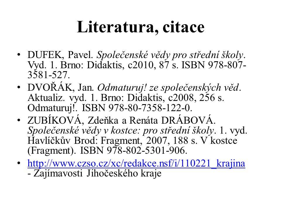 Literatura, citace DUFEK, Pavel. Společenské vědy pro střední školy. Vyd. 1. Brno: Didaktis, c2010, 87 s. ISBN 978-807- 3581-527. DVOŘÁK, Jan. Odmatur