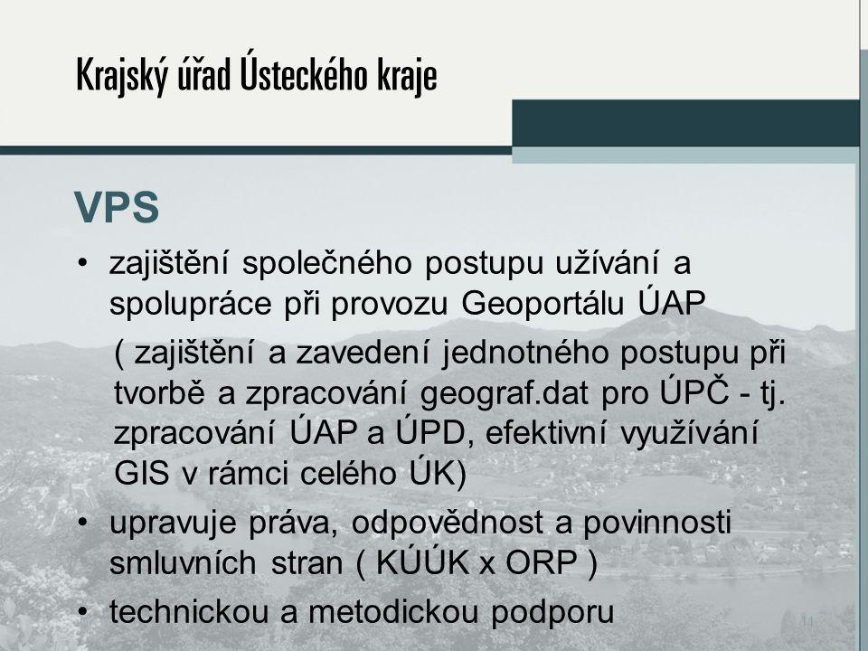 VPS zajištění společného postupu užívání a spolupráce při provozu Geoportálu ÚAP ( zajištění a zavedení jednotného postupu při tvorbě a zpracování geograf.dat pro ÚPČ - tj.