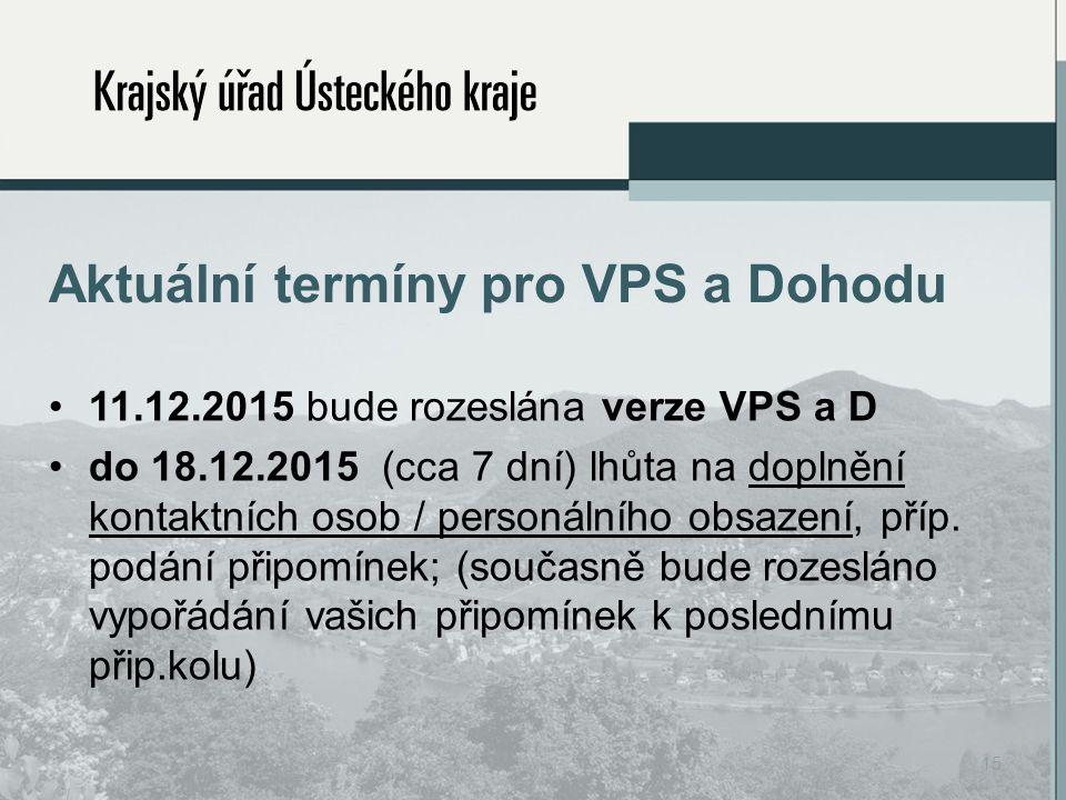 Aktuální termíny pro VPS a Dohodu 11.12.2015 bude rozeslána verze VPS a D do 18.12.2015 (cca 7 dní) lhůta na doplnění kontaktních osob / personálního obsazení, příp.
