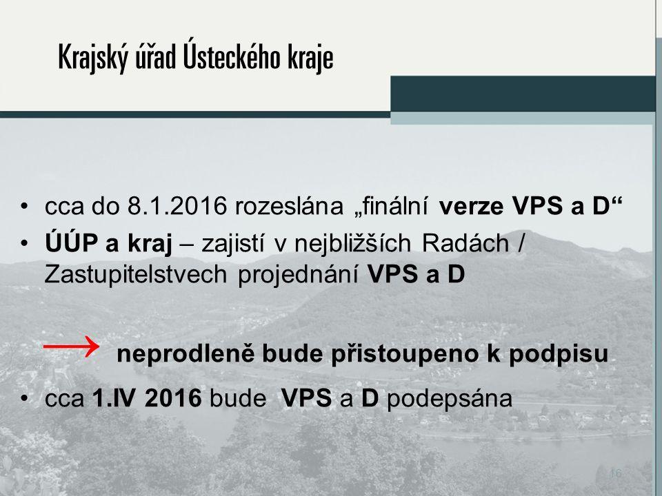 """cca do 8.1.2016 rozeslána """"finální verze VPS a D ÚÚP a kraj – zajistí v nejbližších Radách / Zastupitelstvech projednání VPS a D → neprodleně bude přistoupeno k podpisu cca 1.IV 2016 bude VPS a D podepsána 16"""