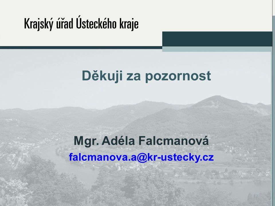 Děkuji za pozornost Mgr. Adéla Falcmanová falcmanova.a@kr-ustecky.cz 17