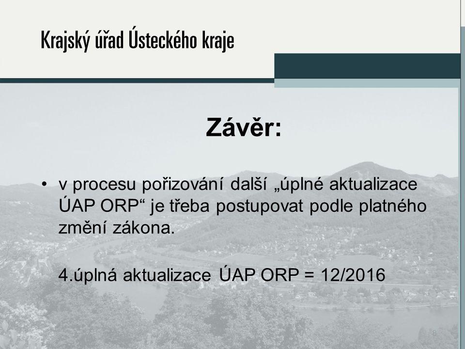 """Závěr: v procesu pořizování další """"úplné aktualizace ÚAP ORP je třeba postupovat podle platného změní zákona."""