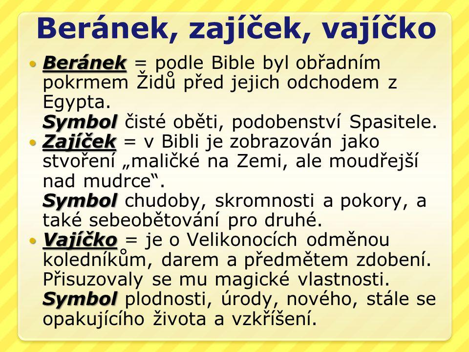 Beránek, zajíček, vajíčko Beránek Symbol Beránek = podle Bible byl obřadním pokrmem Židů před jejich odchodem z Egypta.
