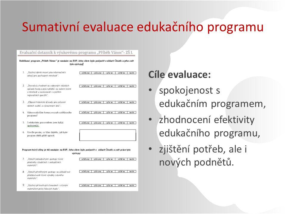 Sumativní evaluace edukačního programu Cíle evaluace: spokojenost s edukačním programem, zhodnocení efektivity edukačního programu, zjištění potřeb, ale i nových podnětů.