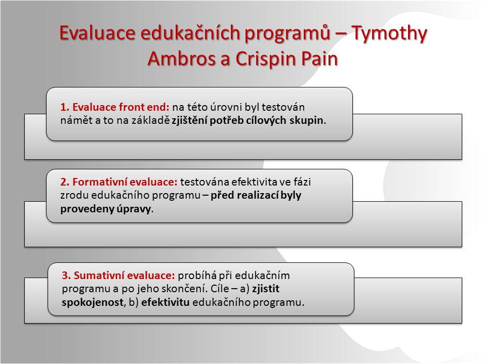 Evaluace edukačních programů – Tymothy Ambros a Crispin Pain 1.