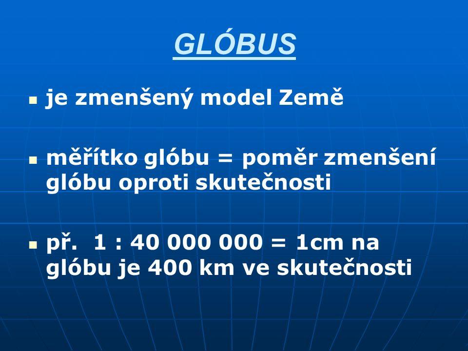 GLÓBUS je zmenšený model Země měřítko glóbu = poměr zmenšení glóbu oproti skutečnosti př. 1 : 40 000 000 = 1cm na glóbu je 400 km ve skutečnosti