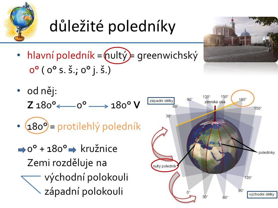 důležité poledníky hlavní poledník = nultý = greenwichský 0° ( 0° s. š.; 0° j. š.) od něj: Z 180° 0° 180° V 180° = protilehlý poledník 0° + 180° kružn