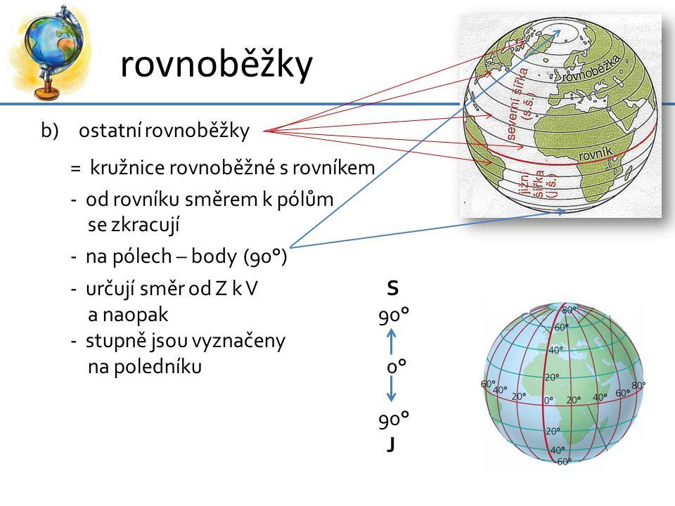 rovnoběžky b)ostatní rovnoběžky = kružnice rovnoběžné s rovníkem - od rovníku směrem k pólům se zkracují - na pólech – body(90°) - určují směr od Z k