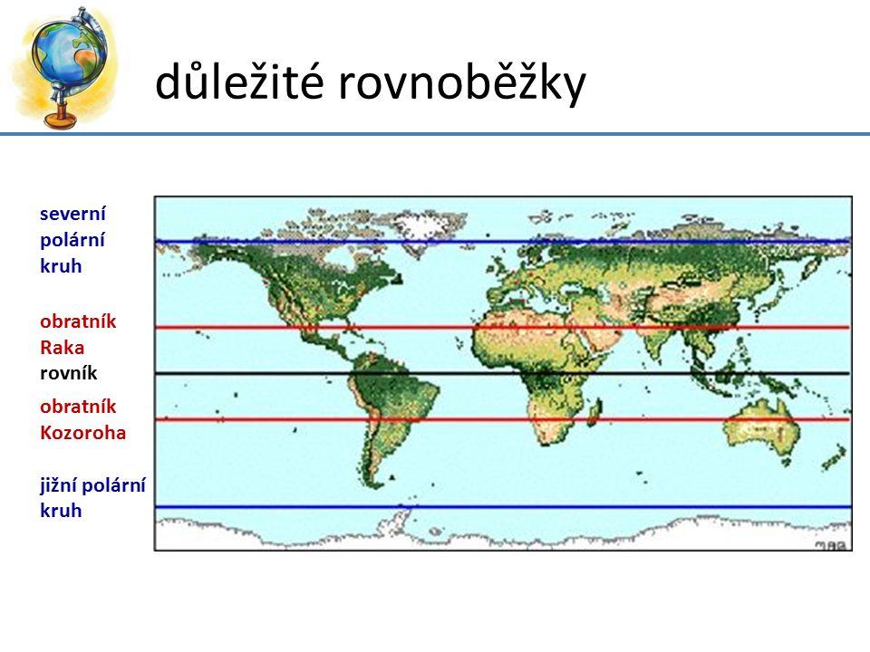 důležité poledníky a rovnoběžky nultý poledník: protilehlý poledník: rovník: obratník Raka: obratník Kozoroha: severní polární kruh: jižní polární kruh: severní pól: jižní pól: 0° 180° 0° 23° 26̕ s.
