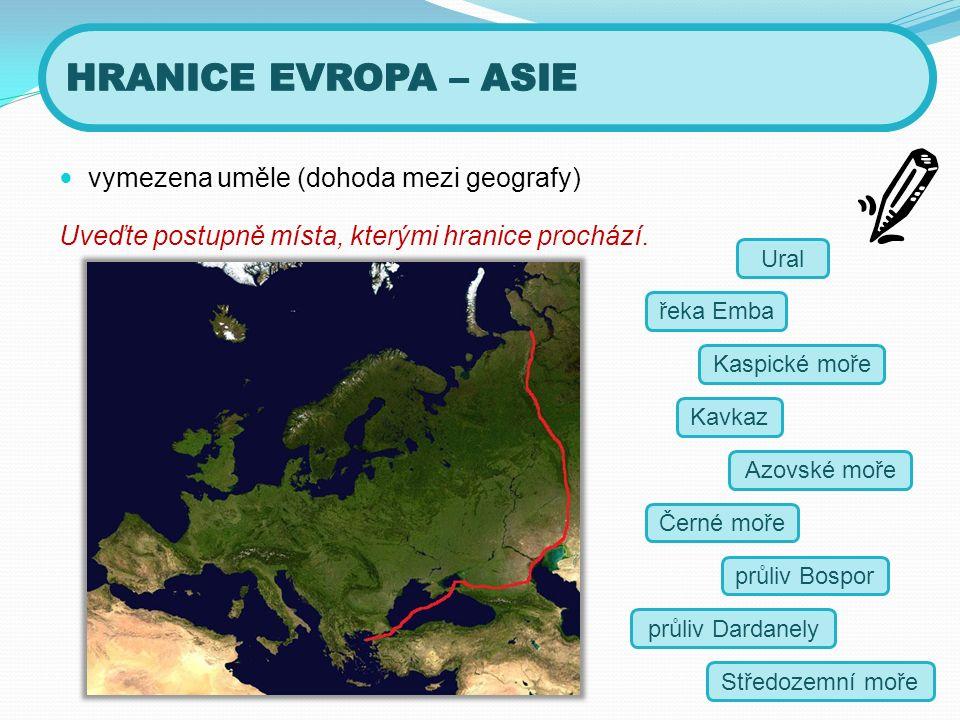 vymezena uměle (dohoda mezi geografy) Uveďte postupně místa, kterými hranice prochází.
