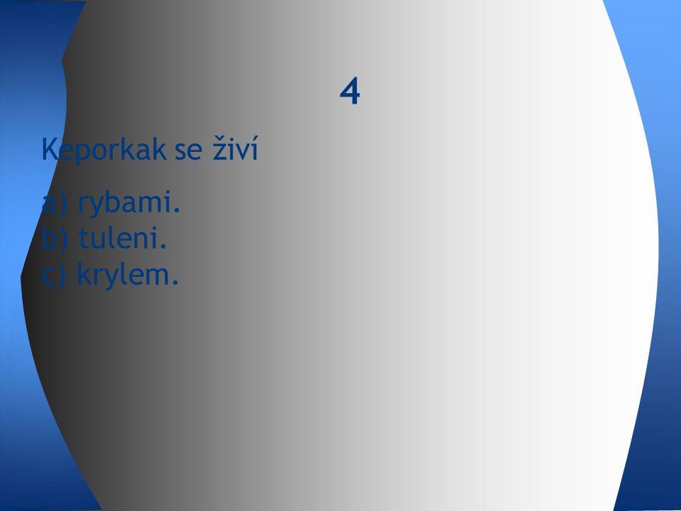 Keporkak se živí a) rybami. b) tuleni. c) krylem. 4