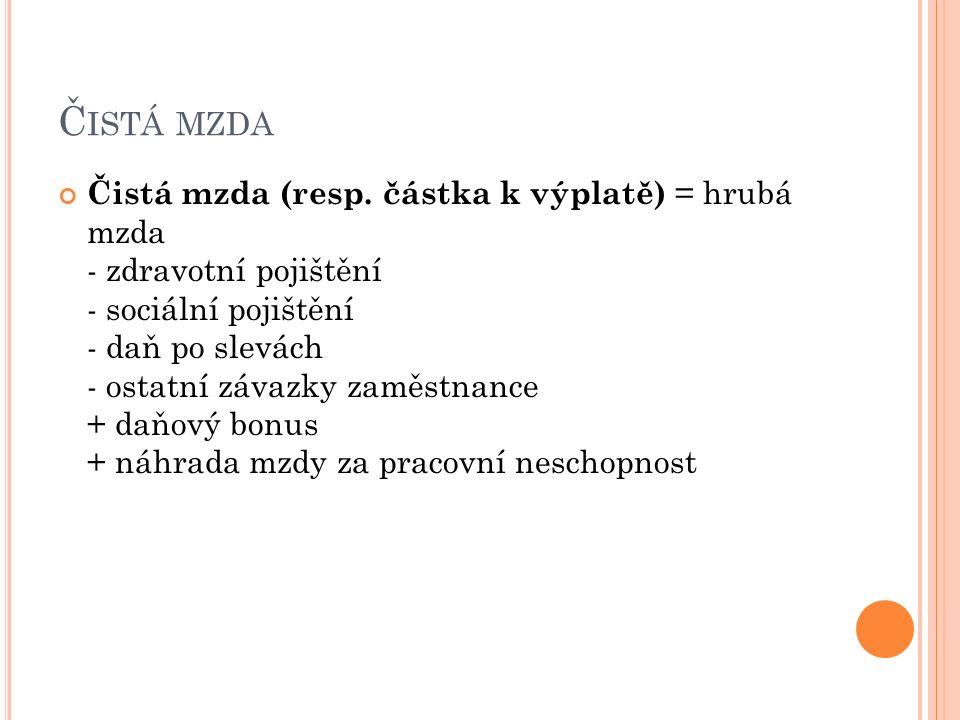 Č ISTÁ MZDA Čistá mzda (resp.