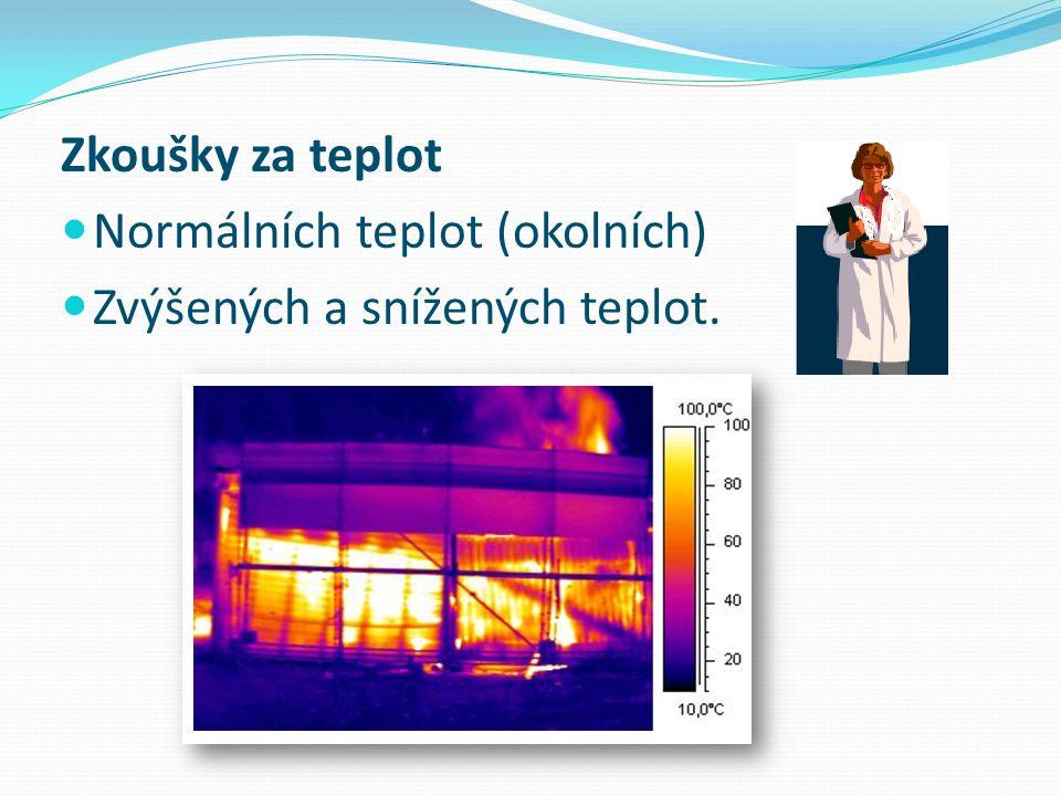 Zkoušky za teplot Normálních teplot (okolních) Zvýšených a snížených teplot.