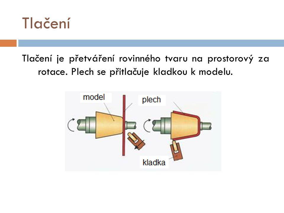 Tlačení Tlačení je přetváření rovinného tvaru na prostorový za rotace. Plech se přitlačuje kladkou k modelu.