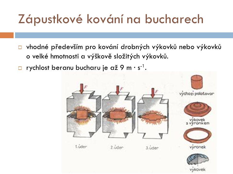 Zápustkové kování na bucharech  vhodné především pro kování drobných výkovků nebo výkovků o velké hmotnosti a výškově složitých výkovků.  rychlost b